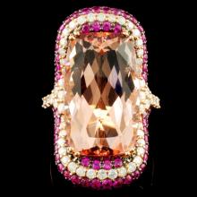 18K Gold 15.17ct Morganite & 1.07ctw Diamond Ring