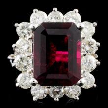 14K Gold 4.5ct Tourmaline & 1.85ctw Diamond Ring