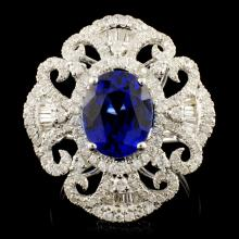 14K Gold 3.68ct Sapphire & 1.15ctw Diamond Ring