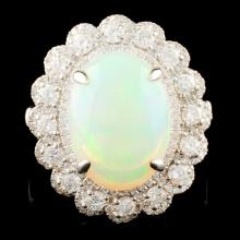 14K Gold 4.44ct Opal & 1.14ctw Diamond Ring