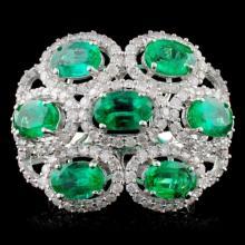 14K Gold 4.00ctw Emerald & 1.00ct Diamond Ring