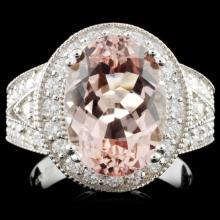 14K Gold 5.00ct Morganite & 1.40ctw Diamond Ring