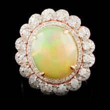 14K Gold 4.66ct Opal & 1.15ctw Diamond Ring