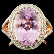 14K Gold 7.76ct Kunzite & 0.62ctw Diamond Ring