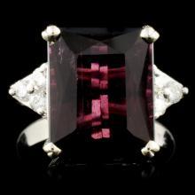 14K Gold 7.92ct Tourmaline & 0.23ctw Diamond Ring