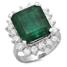14K Gold 7.50ct Emerald & 1.50ct Diamond Ring