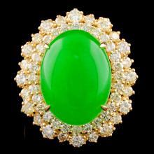 14K Gold 8.10ct Jade & 1.71ctw Diamond Ring