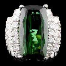14K Gold 8.57ct Tourmaline & 0.99ctw Diamond Ring