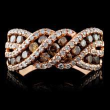 14K Rose Gold 0.85ctw Fancy Color Diamond Ring