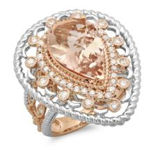 14K Gold 5.00ct Morganite & 0.75ct Diamond Ring