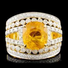 14K Gold 5.01ct Sapphire & 0.93ctw Diamond Ring
