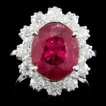14K Gold 5.06ct Ruby & 1.24ctw Diamond Ring