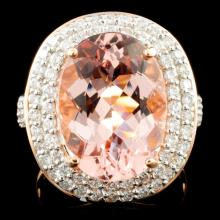 14K Rose Gold 7.66ct Morganite & 1.11ctw Diamond R