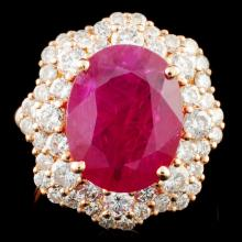 *GIA 18K Gold 5.67ct Ruby & 2.08ctw Diamond Ring