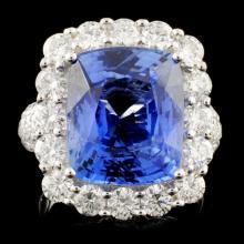 *GIA 18K Gold 9.28ct Sapphire & 2.70ctw Diam Ring