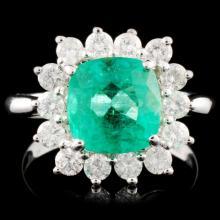18K Gold 2.46ct Emerald & 0.81ctw Diamond Ring