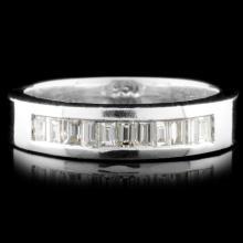 Solid Platinum 0.56ctw Diamond Ring