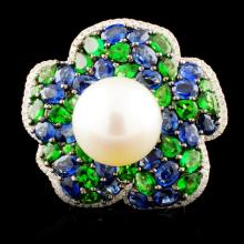 18K Gold 12.50MM Pearl & 0.35ctw Diamond Ring