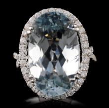 18K Gold 10.00ct Aquamarine & 0.91ct Diamond Ring