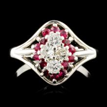 14K Gold 0.56ct Ruby & 0.21ctw Diamond Ring