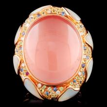 18K Gold 10.00ct Rose Quartz & 0.27ct Diamond Ring