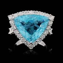 18K Gold 10.03ct Paraiba & 2.24ct Diamond Ring