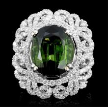 18K Gold 10.19ct Tourmaline & 2.12ct Diamond Ring