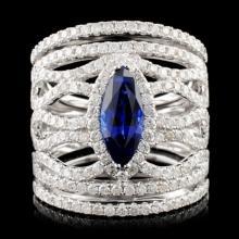 18K Gold 1.45ct Sapphire & 1.67ctw Diamond Ring