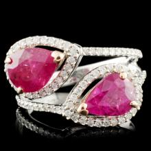 14K Gold 3.24ctw Ruby & 0.32ctw Diamond Ring