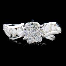 14K White Gold 1.05ctw Diamond Ring