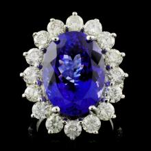 14K W Gold 12.16ct Tanzanite & 3.05ct Diamond Ring