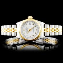 Rolex YG/SS DateJust Ladies Roman Ivory Wristwatch