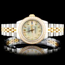 Rolex YG/SS DateJust Diamond Ladies Wristwatch