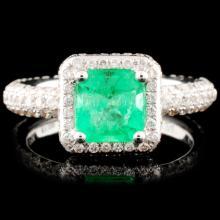 18K Gold 1.09ct Emerald & 1.24ctw Diamond Ring