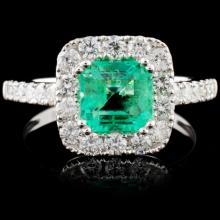 18K Gold 1.14ct Emerald & 0.81ct Diamond Ring