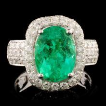 18K Gold 3.60ct Emerald & 2.27ctw Diamond Ring