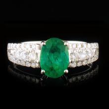 14k White Gold 1.28ct Emerald & 0.42ctw Diamond Ri