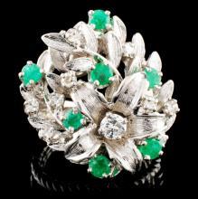 14K Gold 0.70ctw Emerald & 0.58ctw Diamond Ring