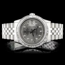 Rolex SS DateJust 3.50ct Diamond 36MM Wristwatch