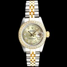 Rolex DateJust 18K/SS Diamond Ladies Watch