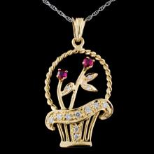14K Yellow Gold 0.18ct Ruby & 0.30ct Diamond Penda