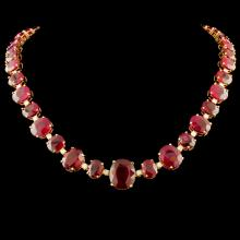 14K Gold 158.00ctw Ruby & 1.45ctw Diamond Necklace