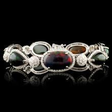 14K Gold 24.62ct Opal & 3.54ctw Diamond Bracelet