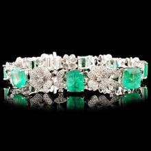 18K Gold 11.92ct Emerald & 2.04ctw Diamond Bracele