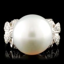 18K Gold 12.00MM Pearl & 0.27ctw Diamond Ring