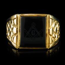 14k Yellow Gold Onyx Rectangle Masonic Nugget Styl