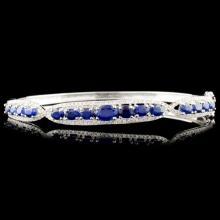 14K Gold 3.60ct Sapphire & 0.63ctw Diamond Bangle