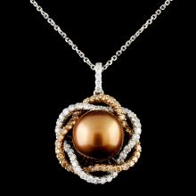14K Gold 11.50MM Pearl & 1.09ctw Diamond Pendant