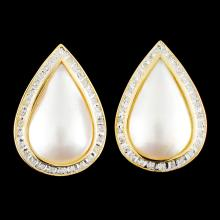 14K Gold 13.00MM Pearl & 0.18ctw Diamond Earrings