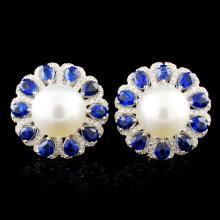 18K Gold 11.00MM Pearl & 0.65ctw Diamond Earrings